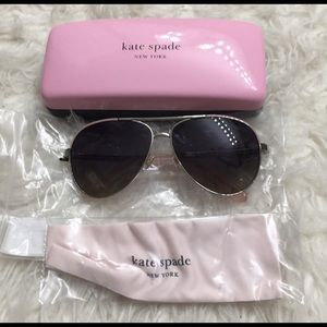 NEW KATE SPADE Aviator Pink Silver Sunglasses